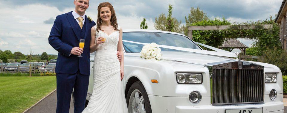White Rolls Royce Phantom Wedding Car